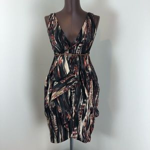 H&M Earth Tone Pattern Ruched Dress